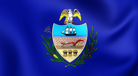 allegheny: 3D Flag of the Allegheny County, Pennsylvania. Close Up.