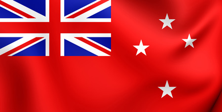 ensign: 3D Civil Ensign of New Zealand. Close Up. Stock Photo