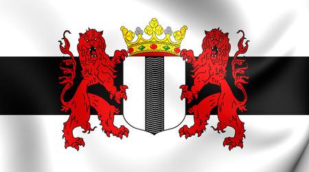 delft: 3D Flag of the Delft, Netherlands. Close Up.
