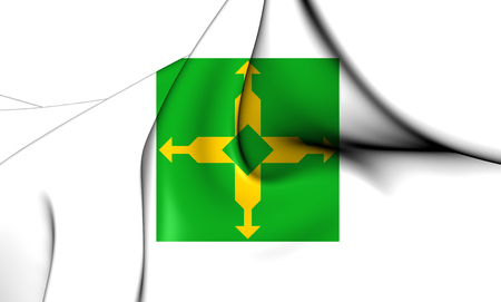 district': 3D Flag of Federal District, Brazil. Close Up.