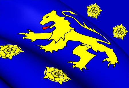 cymru: Kingdom of Dyfed Flag (410-920). Close Up.