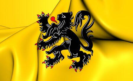 flanders: 3D Flag of Flanders, Belgium. Close Up. Stock Photo