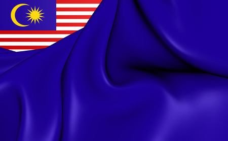 chorąży: 3D Government Ensign of Malaysia. Close Up.