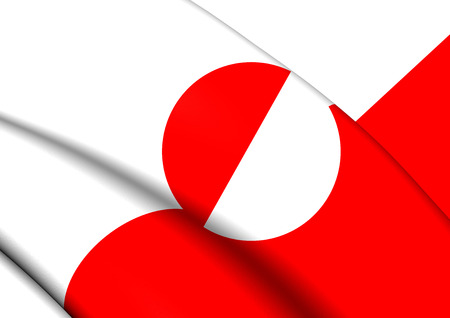 greenland: 3D Flag of the Greenland. Close Up. Stock Photo