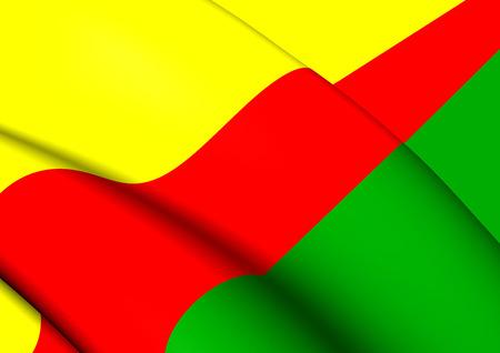 rico: 3D Flag of Humacao, Puerto Rico. Close Up.