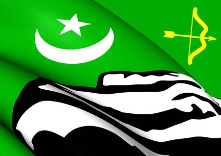 princely: 3D Flag of the Hunza. Close Up.