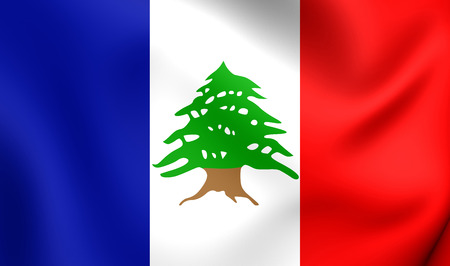 former: 3D Flag of the Lebanon during the French Mandate (1920-1943). Close Up.
