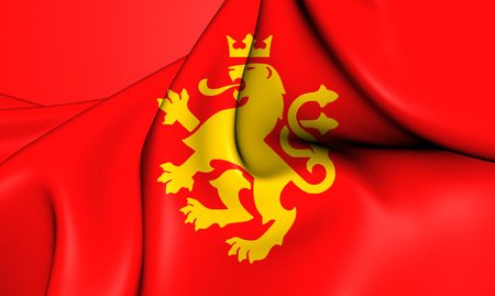 3d lion: 3D Flag of Ethnic Macedonian Lion. Close Up.