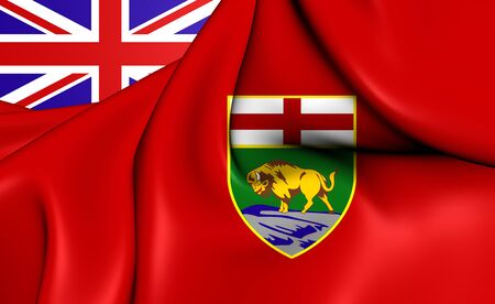 manitoba: 3D Flag of Manitoba, Canada. Close Up. Stock Photo