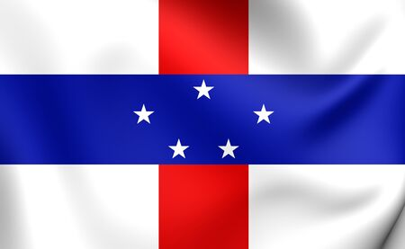 governor: 3D Flag of the Netherlands Antilles (1986-2010). Close Up. Stock Photo