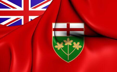 ontario: 3D Flag of the Ontario, Canada. Close Up.