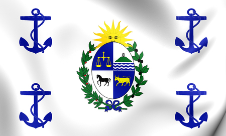 presidential: 3D Presidential Standard of Uruguay. Close Up.