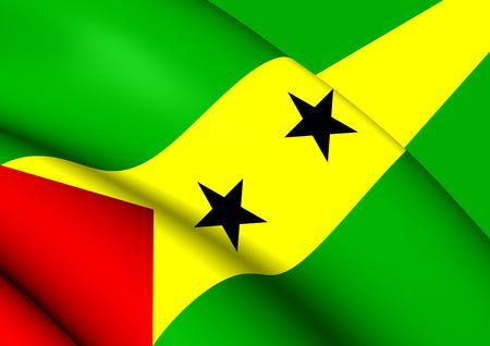 principe: Bandera 3D del Santo Tomé y Príncipe. Acercamiento. Foto de archivo
