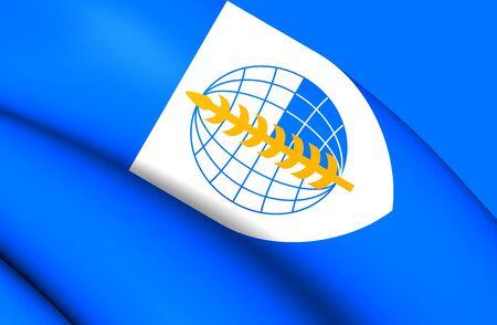 treaty: 3D Flag of South East Asia Treaty Organization. Close Up.