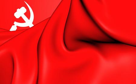 south asian: South Asian Communist 3D Banner. Close Up.
