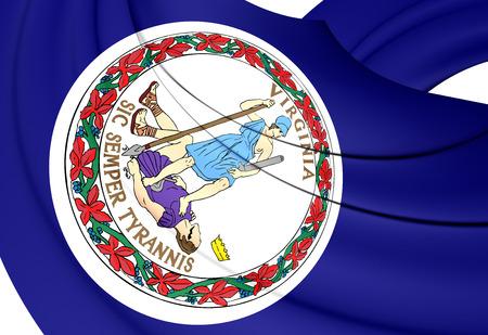 3d virginia: 3D Flag of the Virginia, USA. Close Up.