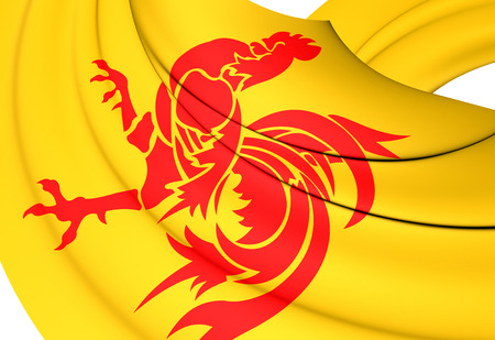 wallonie: 3D Flag of the Wallonia, Belgium. Close Up.