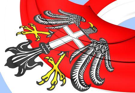 wean: 3D Flag of Vienna, Austria. Close Up. Stock Photo