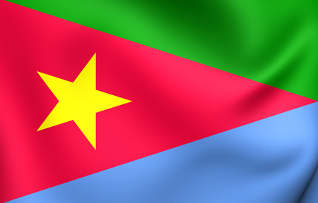 liberation: 3D Flag of the Eritrean Peoples Liberation Front. Close Up.
