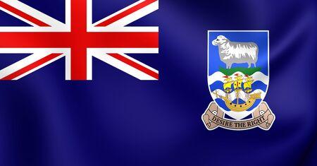 brutish: 3D Flag of the Falkland Islands. Close Up. Stock Photo