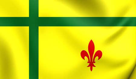 regina: 3D Flag of the Fransaskois, Canada. Close Up.