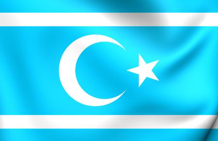 iraqi: 3D Flag of Iraqi Turkmen Front. Close Up.