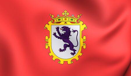 leon: 3D Flag of Leon City, Spain. Close Up.
