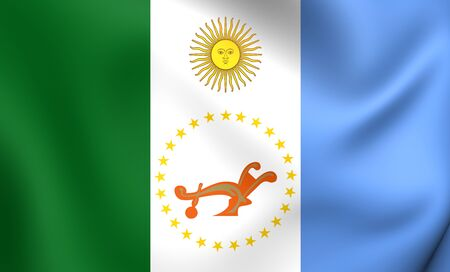3D Flag of Chaco Province, Argentina. Close Up.