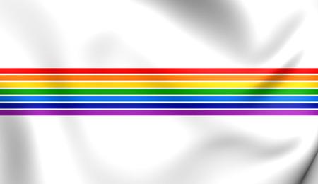 oblast: 3D Flag of Jewish Autonomous Oblast, Russia. Close Up. Stock Photo