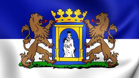 assen: 3D Flag of Assen, Netherlands. Close Up.