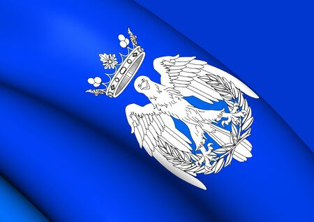 maria: 3D Flag of Maria City, Spain. Close Up. Stock Photo