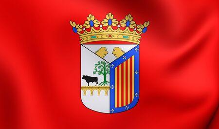 castilla: 3D Flag of Salamanca City, Spain. Close Up.
