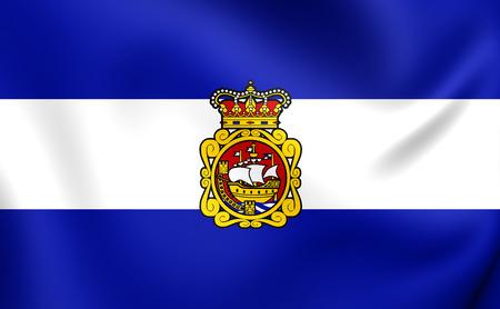 aviles: 3D Flag of Aviles City, Spain. Close Up.