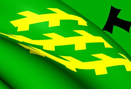 els: 3D Flag of Els Pallaresos, Spain. Close Up.