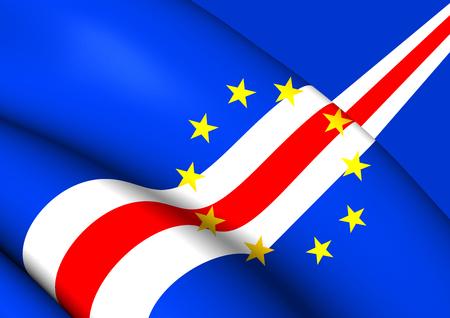 verde: 3D Flag of the Cape Verde. Close Up. Stock Photo