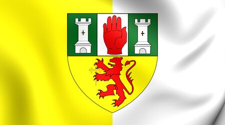 ulster: 3D Flag of County Antrim, Northern Ireland. Close Up. Stock Photo