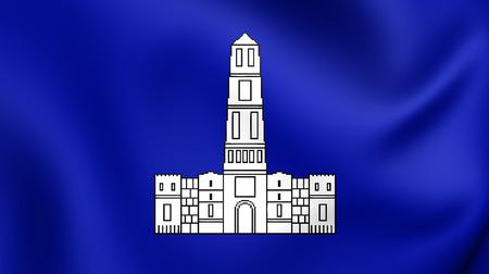 split up: 3D Flag of Split City, Croatia. Close Up.