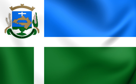 cristo: 3D Flag of Santo Cristo City, Brazil. Close Up.
