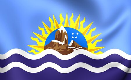 santa cruz: 3D Flag of Santa Cruz Province, Argentina. Close Up.