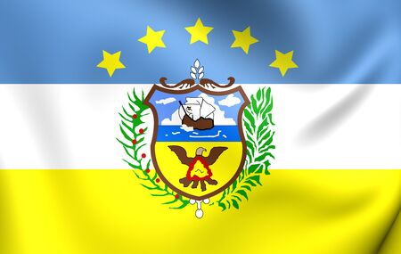 Bandera 3D de Colón Provincia, Panamá. Acercamiento.