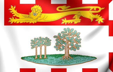 edward: 3D Flag of Prince Edward Island, Canada. Close Up. Stock Photo
