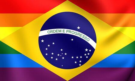 bandera gay: Brasil Bandera Gay. Acercamiento.