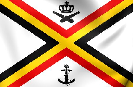 variant: 3D Naval Ensign of Belgium. Close Up. Stock Photo