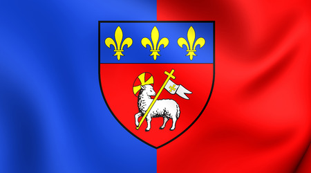 normandy: 3D Flag of Rouen, France. Close Up.