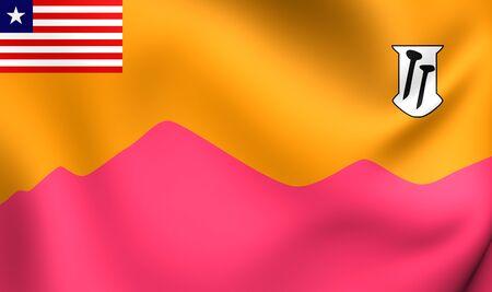 liberia: 3D Flag of Bong County, Liberia. Close Up.