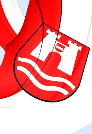 linz: 3D Flag of Linz City, Austria. Close Up.