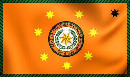 cherokee: 3D Flag of Cherokee Nation. Close Up. Stock Photo