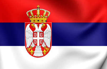 serb: 3D Flag of the Serbia. Close Up.