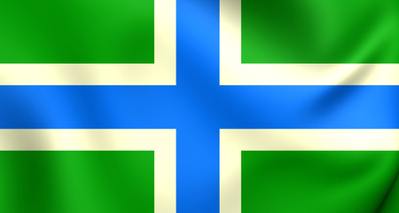 gloucestershire: 3D Flag of Gloucestershire, England. Close Up.