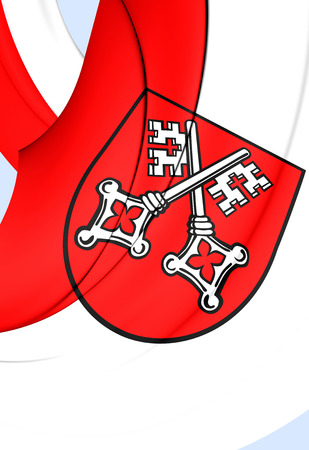 upper arm: 3D Flag of Regensburg City, Germany. Close Up. Stock Photo